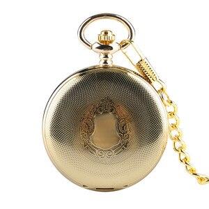 Image 5 - Gouden Spiegel Ontwerp Volledige Hunter Mechanische Hand Winding Zakhorloge Romeinse Cijfers Dial Luxe Retro Souvenir Klok Geschenken
