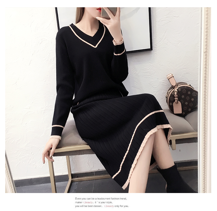 Autumn Winter Knitted Two Piece Sets Outfits Women V-neck Sweater And Skirt Suits Tracksuits Elegant Casual Fashion 2 Piece Sets 65