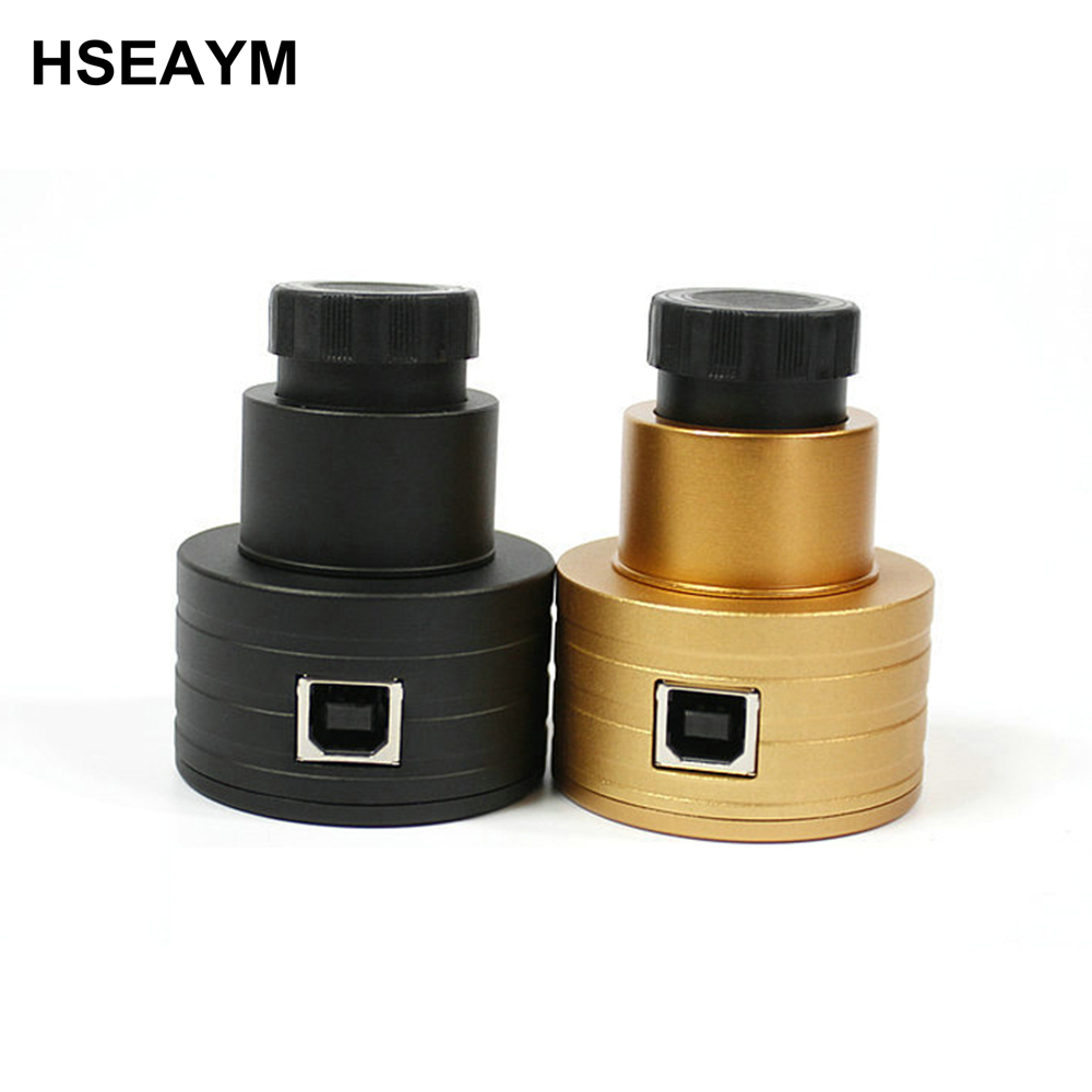 HSEAYM USB Digital Eyepiece 2.0 MP Image Sensor Yellow Telescope Camera lens Electronic Ocular - 1.25 and 0.965 Port 1 25 smart webcam 2 0mp wifi electronic eyepiece cmos smart usb digital astronomy monocular telescope camera ocular lens w2565
