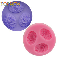 DIY 3-Hole Roses Cake Molds Fondant Chocolate Silicone Mold Food-Grade Safe Silicone FDA Candy Moulds Cake Tools C1741
