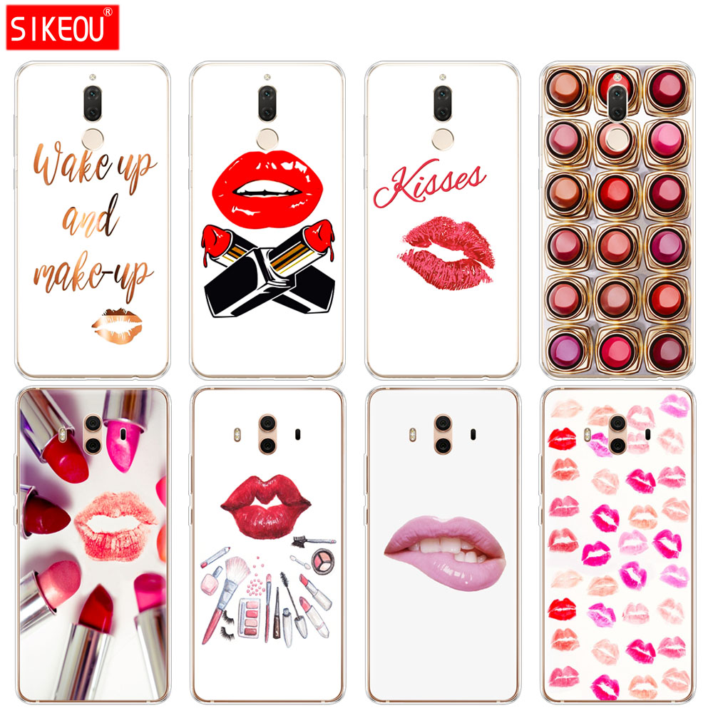 Silicone <font><b>Cover</b></font> phone Case for <font><b>Huawei</b></font> <font><b>mate</b></font> 7 8 9 <font><b>10</b></font> <font><b>pro</b></font> LITE <font><b>Sexy</b></font> Lips Makeup Cosmetics Lipstick Powder image