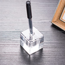 Square Clear Office Crystal Pen Holder Rack Brush Container Home Decoration Accessories For Desk Organizer