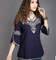 Women Peasant Ethnic Embroidered Boho Cotton Blouse Tunic Chic Top Gypsy Free