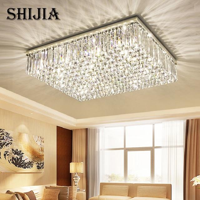 US $183.75 30% OFF|Modern Led k9 Crystal Chandelier Lighting for Living  Room Bedroom 3 Colors Adjustable Crystal Square Ceiling Lamp -in Ceiling ...