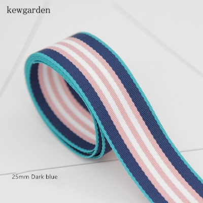 Kewgarden 25mm 1 quot Stripe Cotton Thick Satin Ribbons Handmade Bowknot Ribbon DIY Riband Garment Accessories 8M Lot in Ribbons from Home amp Garden
