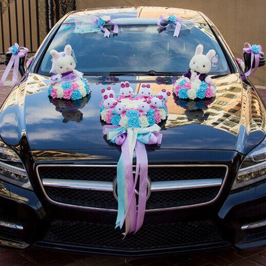 wedding car decoration set cute rabbit decoration for car wedding ...