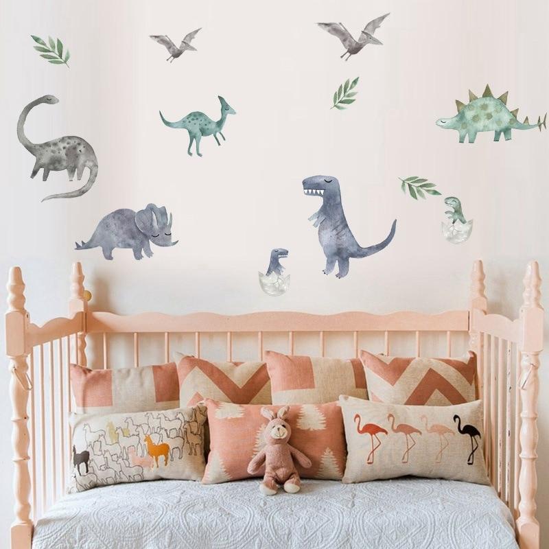 >Cartoon <font><b>Watercolor</b></font> Dinosaurs Wall Sticker Poster <font><b>Animals</b></font> Vinyl Wall Decals for Kids Room Boys Children Mural DIY <font><b>Home</b></font> Decor