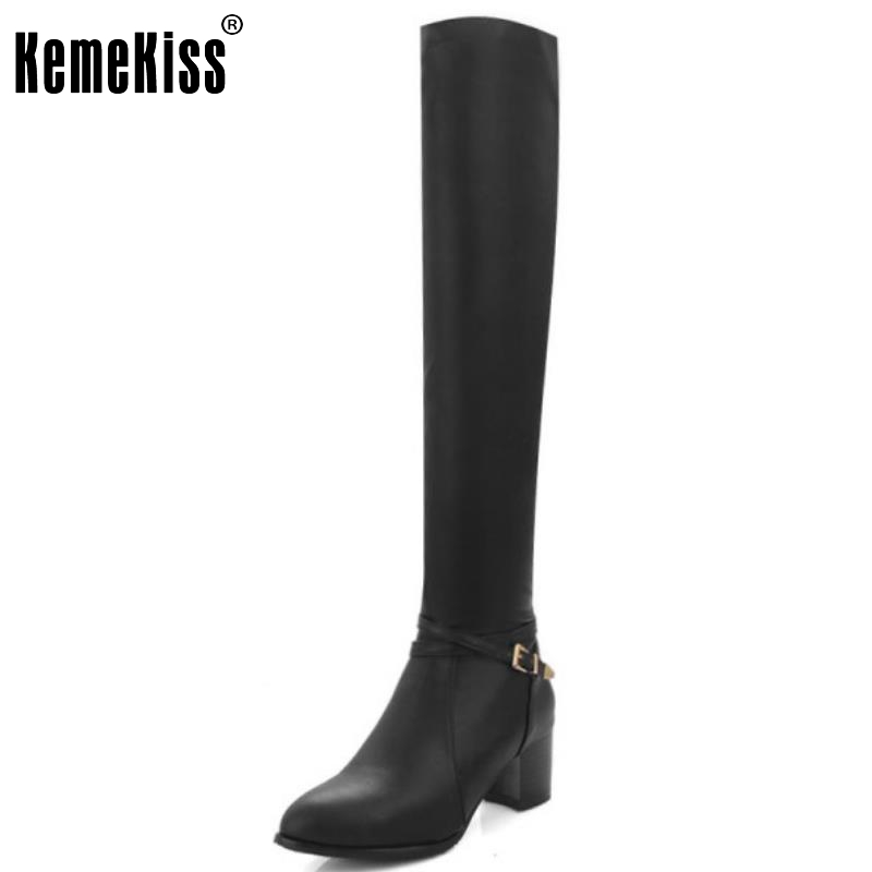 Women Pointed Toe Over The Knee Boots Woman Zipper Square Low Heel Shoes Woman High Quality Zipper Botas Mujer Size 34-43 qutaa 2017 women over the knee high boots all match pointed toe high quality thin high heel pointed toe women boots size 34 43