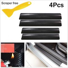 цена на SPONSORED 4x 3D Carbon Fiber Look Car Door Plate Sill Scuff Cover Sticker Panel