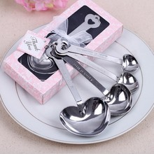 (400pcs=100boxes/LOT)FREE SHIPPING+Love Beyond Measure Heart Measuring Spoons in Gift Box Wedding Favors&Bridal Shower Gift