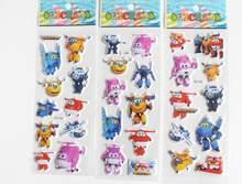 6 pçs/set Super Asas adesivos para crianças decoração da sua Casa em laptop bonito etiqueta do carro decalque frigorífico brinquedo rabisco Superwings 3D adesivos