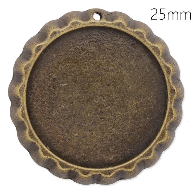 25 مللي متر مستدير النقش كابوشون إعداد النتائج مجوهرات ذاتية الصنع قلادة الفراغات العتيقة برونزية صينية تركيبات قاعدة ، 20 قطعة/الوحدة-C4204