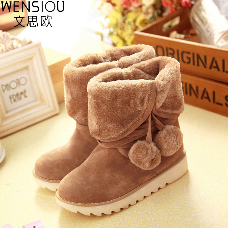 Two way to wear plus sizes women snow boots sweet student fitted with hairball female leisure botas popular hot DT557