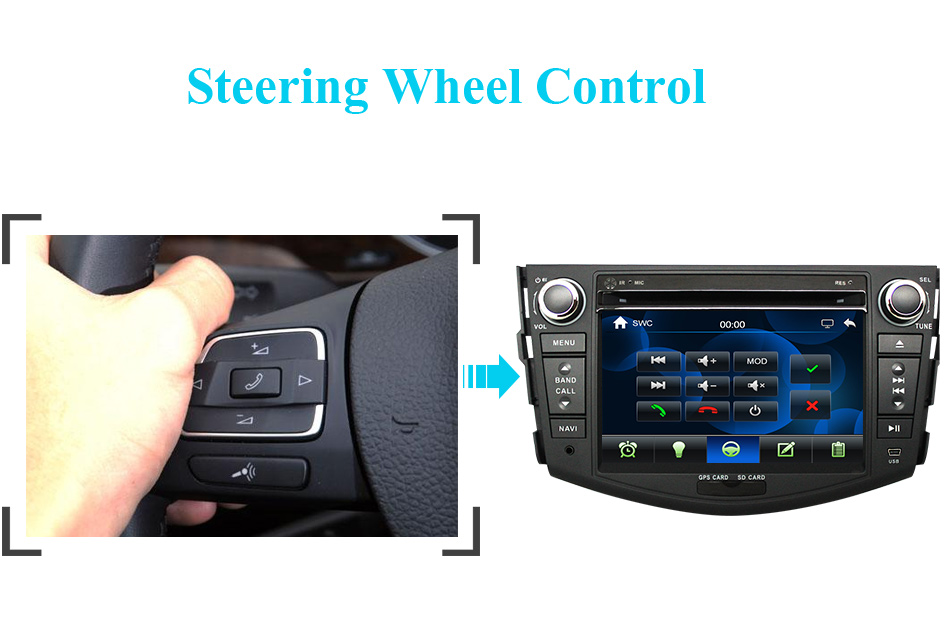Flash Deal Eunavi Car DVD Player 2Din Car Radio For Toyota RAV4 2006 2007 2008 2009 2010 Steering Wheel control Touch screen GPS Navigation 7