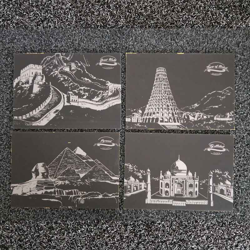 4 pieces postcards scrape painting 8 inch landscape design children scraping paper DIY creative card gift wisdom