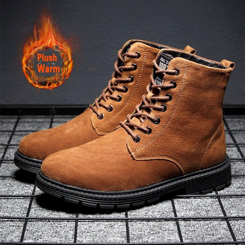SUROM/Мужская зимняя теплая обувь, зимняя высокая повседневная обувь из натуральной кожи, непромокаемые ботильоны, Ботинки martin, большие разме...