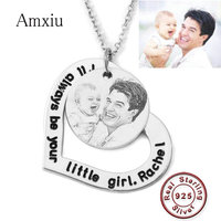 Amxiu Custom Photo Necklace Engraving Words Heart Pendant Necklace Personalized 925 Sterling Silver Jewelry For Women Girls Gift