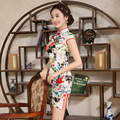 Chinese Women's Traditional Silk Mini Dress Silk Female Cheongsam with Flower Pattern Short Sleeve Girl Part Dress Qipao