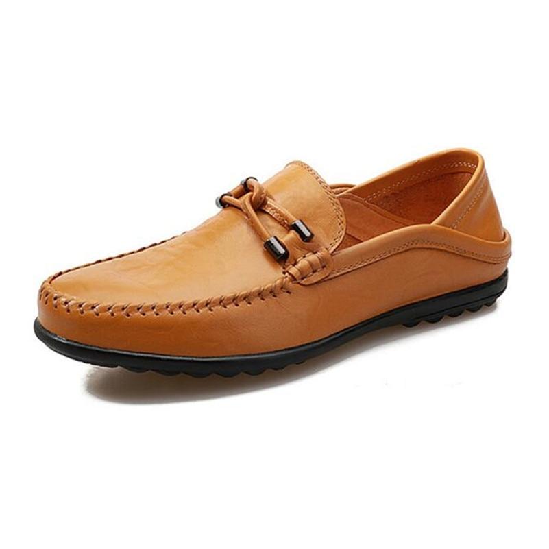 Appartements jaune marron En Mocassins Cuir Hommes Noir B1006 Homme Mocassin Chaussures Casual Chaussure Véritable Glissement Sur qTtFBZax