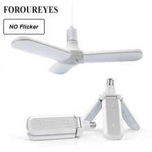 45W E27 LED Bulb SMD2835 228leds Super Bright Foldable Fan Blade Angle Adjustable Ceiling Lamp Home Energy Saving Lights