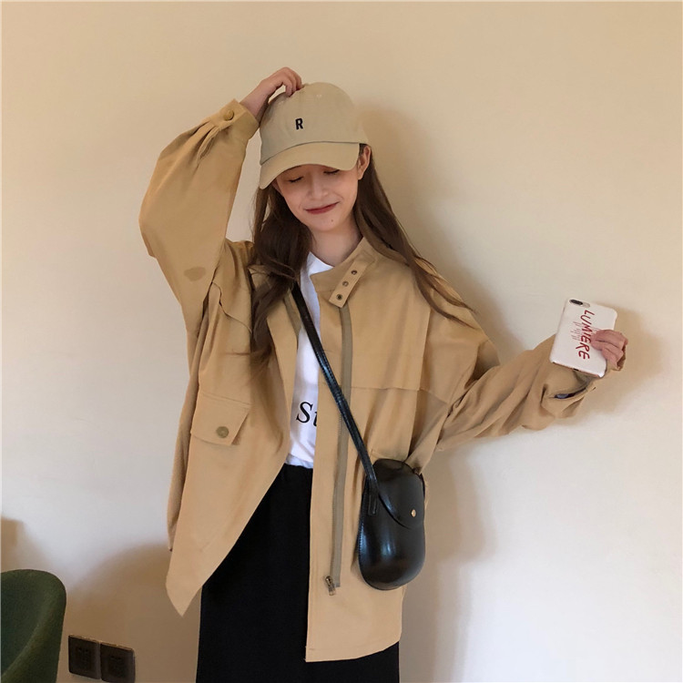2019 New Womens Spring Casual Jackets Ladies Color Block Pocket Zipper Front Stand Collar Long Sleeve Basic Jacket Coat Outwear