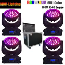 4 Pcs/lot Terbang Kasus Dj Club Disco Zoom 36X18 W Rgbwa + UV 6 In 1 Zoom Cuci lampu LED Moving Head Light(China)