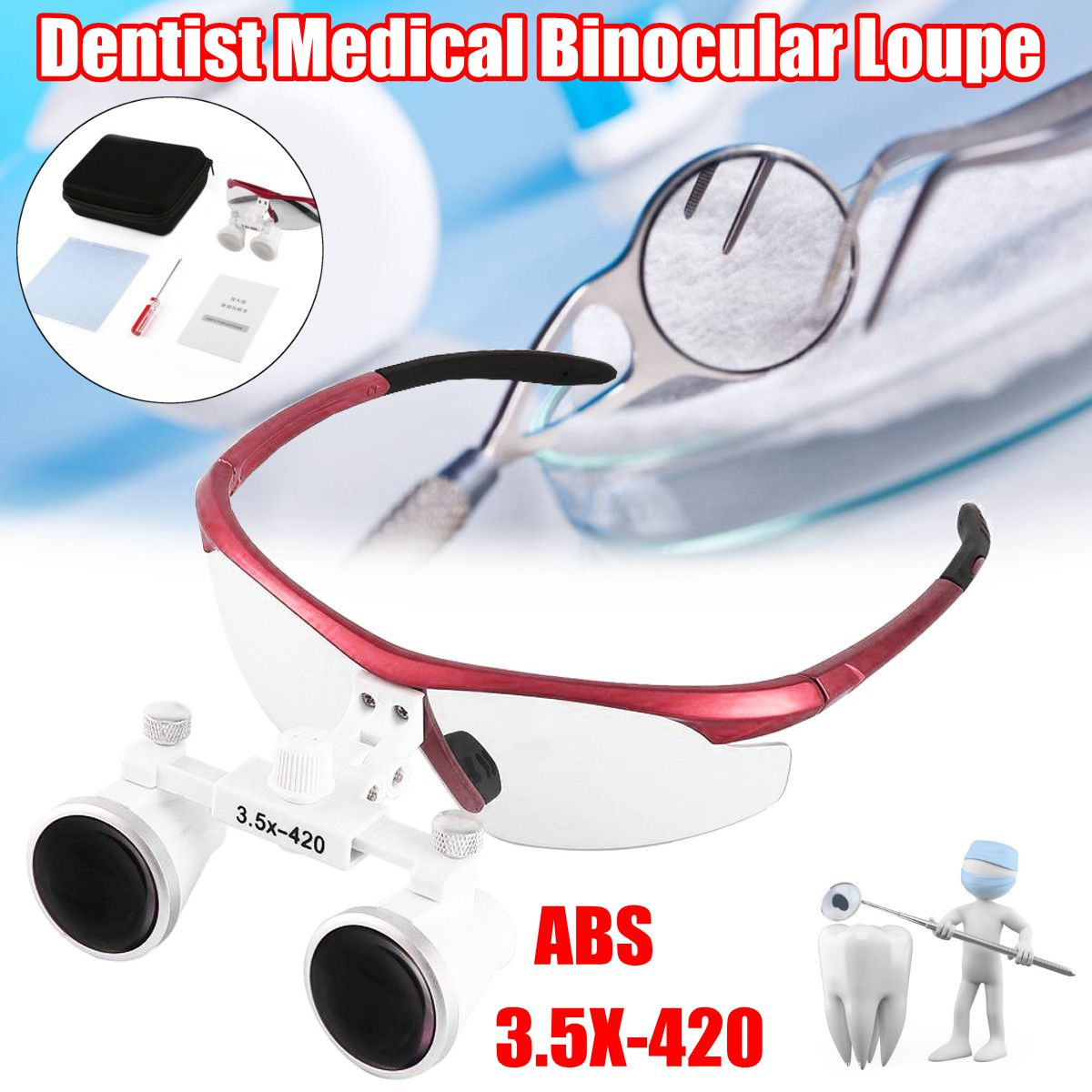 ABS Tool Dental Dentist Medical Binocular Loupe Optical Glass Magnifier Clinical Dentist Surgery Loupe Red 3.5X-420 clinical