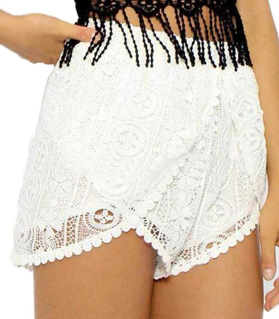 Fashion Summer Pom Pom Shorts Womens White Crochet Lace Shorts