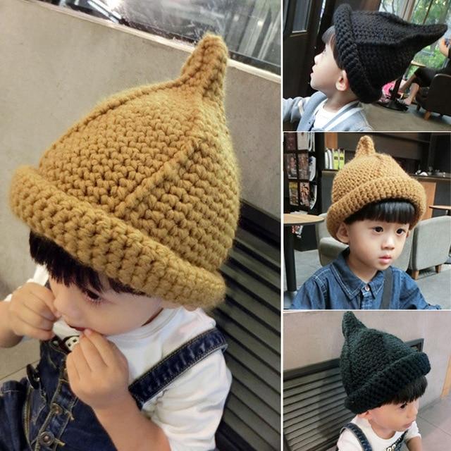 5915b23807d BomHCS Korean Style Knitted Cap Baby Hat Toddler Kids Girls Boys Nipple  Knitted Hat Curling Cap