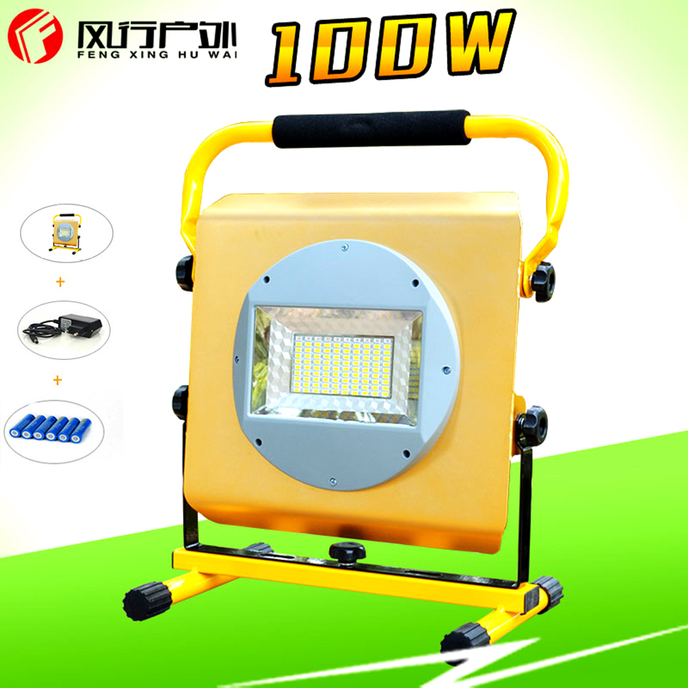 LED Light 100W Reflector Led Light Spotlight  Camping, fishing lights, light Outdoor Lamp Projectors + 6x18650 Battery & Charger new 6 18650 battery new powerful lights rechargeable led floodlight 100leds 2400lumen 100w flood lamp portable light