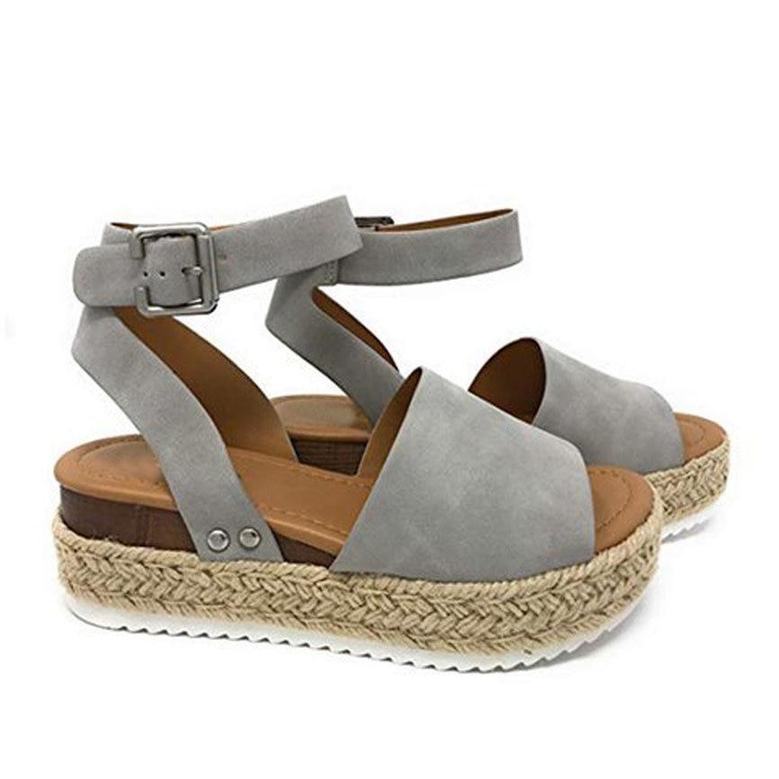 40a79aa64a8 Women Shose Women Summer Fashion Sandals Buckle Strap Wedges Retro Peep Toe Sandals  Women Shose For Ladies M9