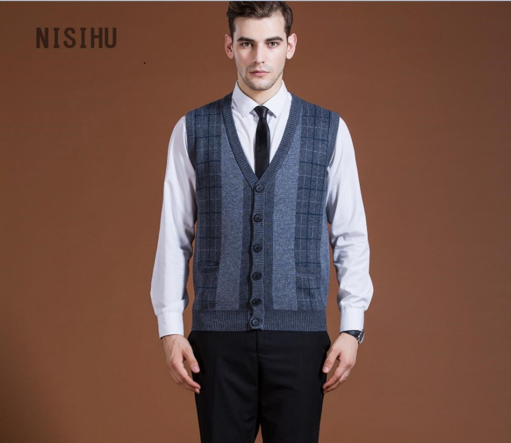 Hot sale new style mens v neck wool knit sweater vest formal men ...