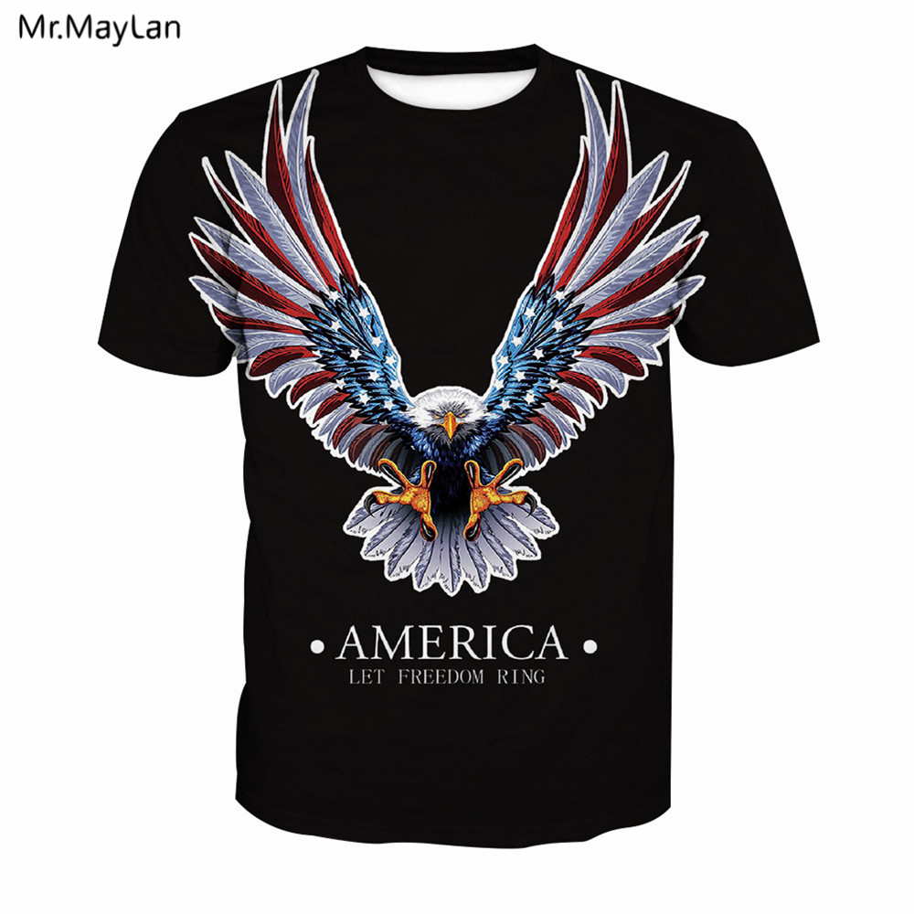 USA American Mighty Eagle 3D Print T shirt Men/Women Cool Hiphop Black Crewneck Tshirt Tees Boys Hipster T shirts Clothes 5XL