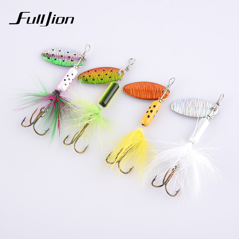 4pcs/lot Fishing Lures Wobbler Tackle Sequin Spoon Wobble Spinner Baits CrankBait Bass With Feather Hooks Pesca Isca Artificial