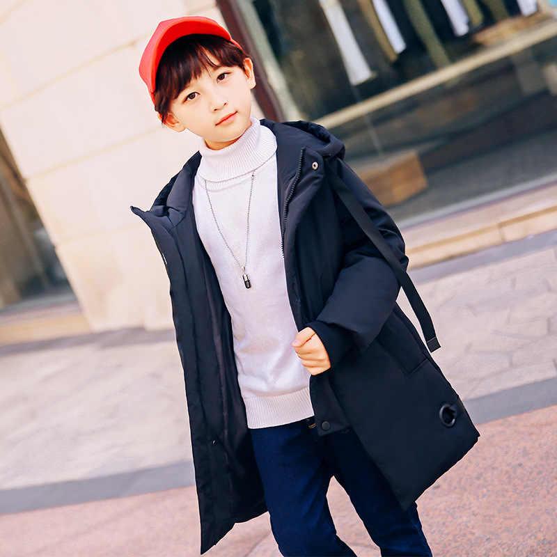 الفتيان الفتيات أسفل سترة الأطفال ملابس الشتاء سميكة معطف مقنع 2018 كبير الاطفال ملابس خارجية Teenage بطة أسفل معاطف 10 12