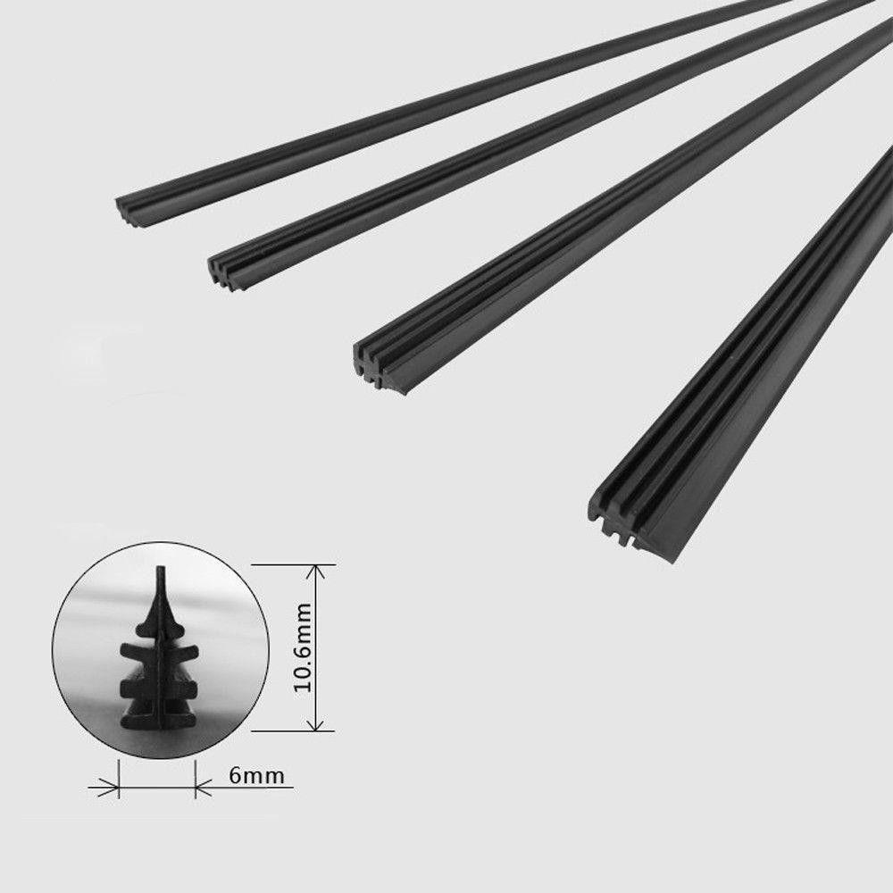 2pcs Car Silicone Universal Frameless Windshield Wiper Blade Refill 26'' Auto Insert Rubber Strip Windscreen Wiper Blade Soft