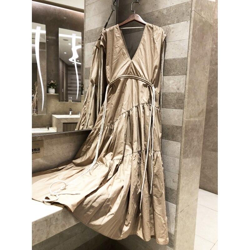 2019 sans manches col en v longue robe femmes col en v décontracté élégant printemps été coton loisirs robe de haute qualité robe