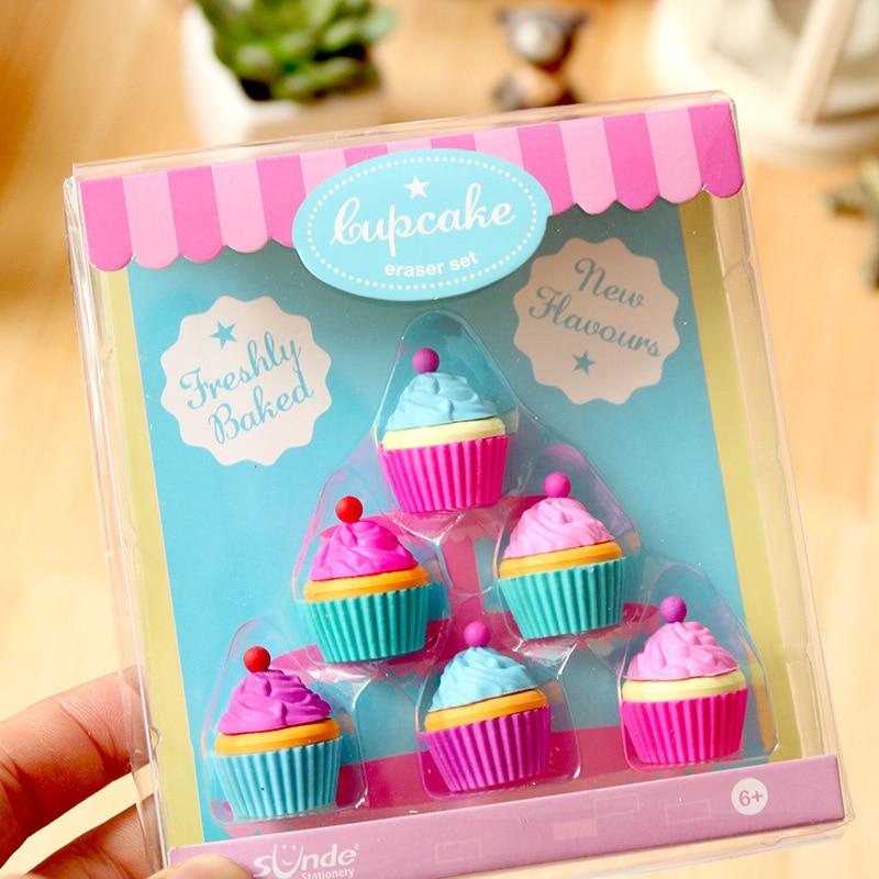 8set/lot Creative Boxed Cake Dessert Cup Eraser Set/ Student Eraser Suit / Creative Stationery / Learning Supplies/children Gift