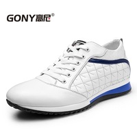 GN2230 Fashion Men S Black White Calfskin Shoes For Men Comfortable Lift Height 8cm In Daily