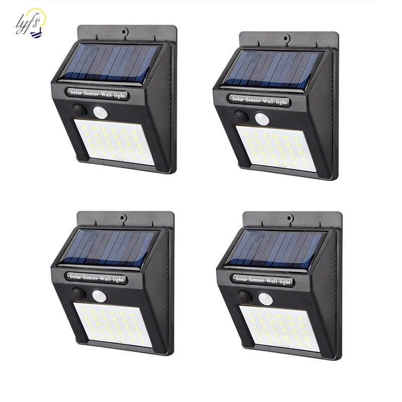 4 pcs/lot 16/20/25/30 LEDs Étanche Solaire Lumière PIR Motion Sensor Mur Solaire Lampe Extérieure jardin Solaire Lumière Lampe À Économie D'énergie
