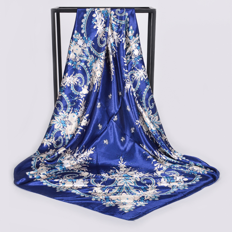 [BYSIFA] White Chinese Roses Women Silk   Scarf   Shawl 2018 Spring Autumn Satin Large Square   Scarves     Wraps   Navy Blue,Pink,Grey,Red