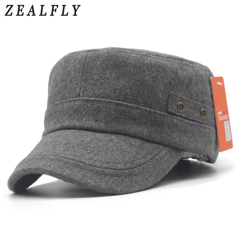 e37fb20fb327a Invierno militar gorra lana mezcla plana tapa para hombres Unisex ajustable  sólido Casual al aire libre cálido militar sombrero mujeres