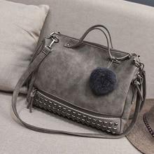 Vintage PU Leather Women's Bag Rivet Larger Ladies Handbags Hair Ball Shoulder Bag Motorcycle Crossbody Bags For Women Messenger стоимость