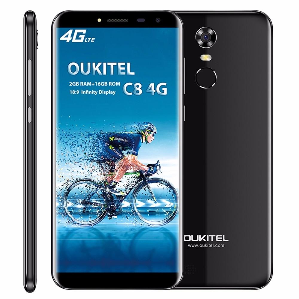 Oukitel C8 4g LTE 5.5 ''18:9 Affichage Smartphone Android 7.0 3000 mah 2 gb RAM 16 gb MTK6737 quad Core D'empreintes Digitales 13MP Téléphone Portable