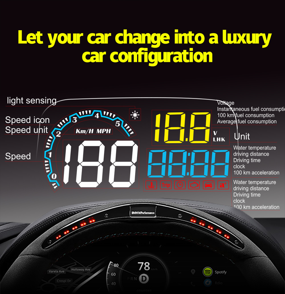 Image 4 - OBDHUD C800 2 In 1 GPS OBD2 Head Up Display On board Car Computer C600 Digital Speedometer Projector Driving Fuel Consumption-in Head-up Display from Automobiles & Motorcycles