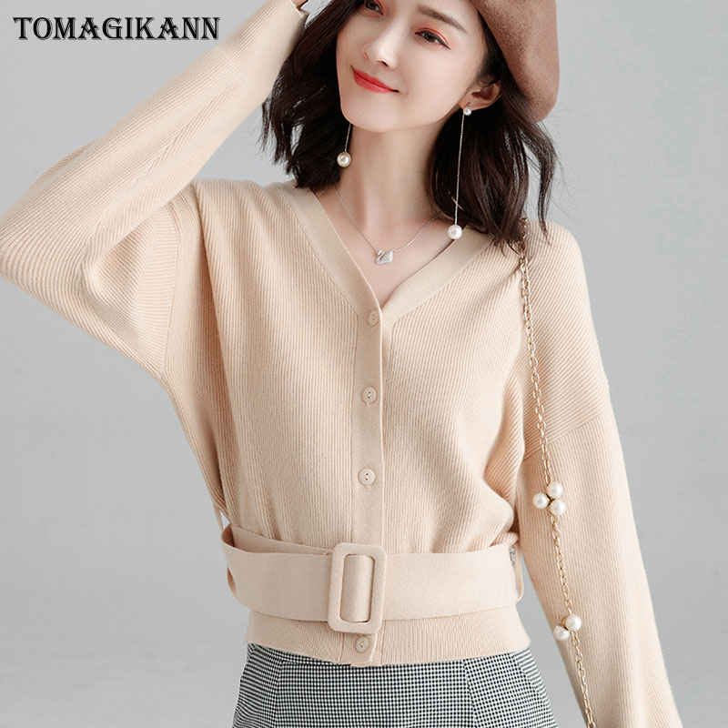 Autumn Winter Woman Sweater Knitting Cardigan Coat V-neck Waist Belt Knitted  Outerwear Sweaters Ladies Coat Jacket Female Tops only  27.71 a0c79db7b