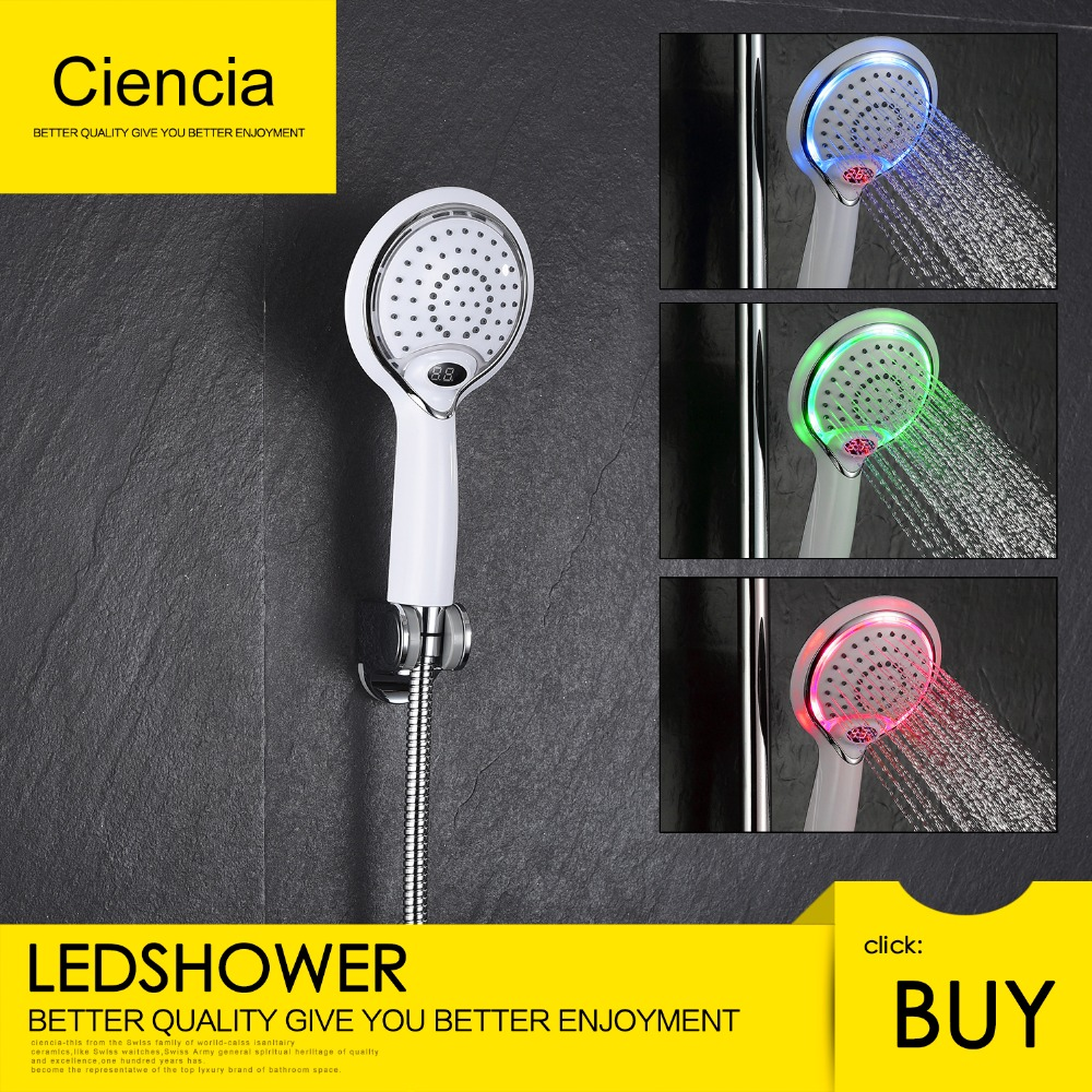 Free Shipping ABS Plastic Led Handheld Shower Head With Temperature Digital Display, 3 Colors Change Water Powered