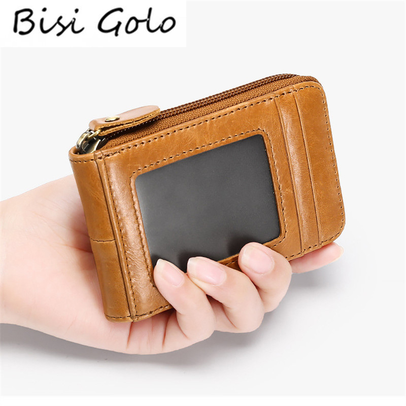 BISI GORO 2019 Card Holder Business Card Case with RFID Blocking Vintage Unisex High Quality Genuine Leather Credit Card WalletsBISI GORO 2019 Card Holder Business Card Case with RFID Blocking Vintage Unisex High Quality Genuine Leather Credit Card Wallets