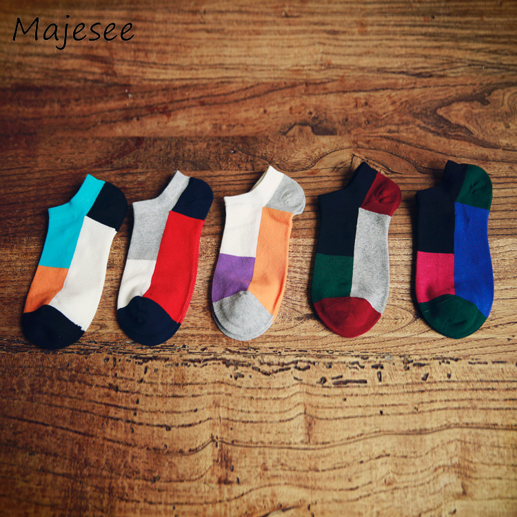 Cotton Patchwork Trendy Men Funny Socks Colorful Male Sock Mens Summer Breathable Deodorant Soft Fashion Japanese Style 5 Colors