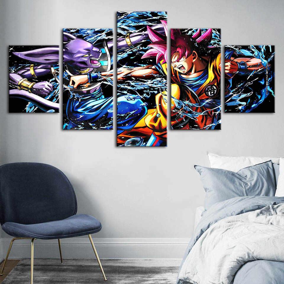 قماش جدار الفن HD يطبع لعبة دراغون بول المشارك الرسوم المتحركة الطابع المنزل الديكور اللوحة لغرفة النوم وحدات الصور الإطار